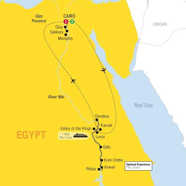 Trafalgar Tours Wonders Of Ancient Egypt - Map ancient egypt jordan river