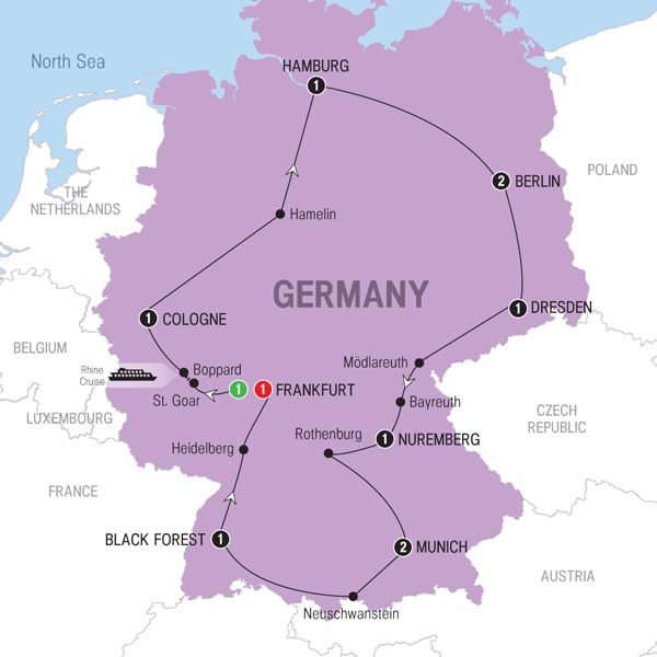 Trafalgar Tours Best Of Germany - Germany map 2016