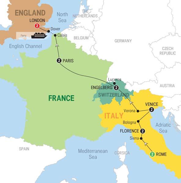 Trafalgar Tours European Wonderland - Ancient rome map tiber river