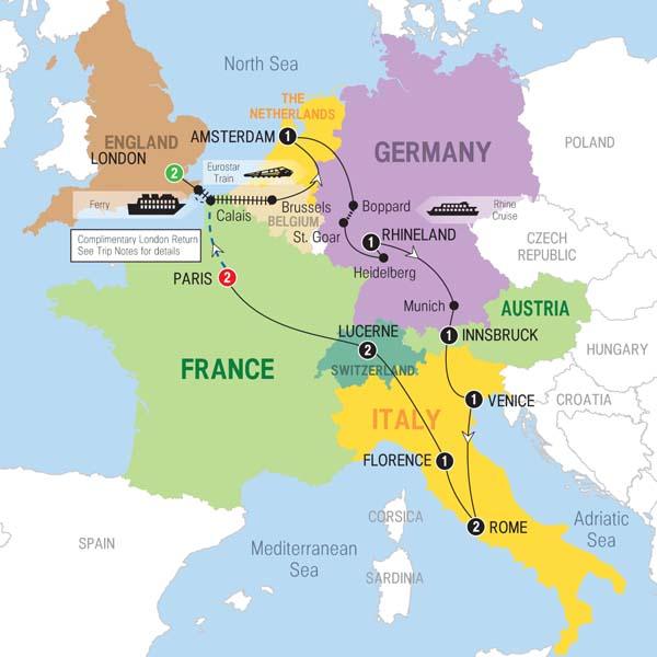 Trafalgar Tours European Whirl End London - London map in europe