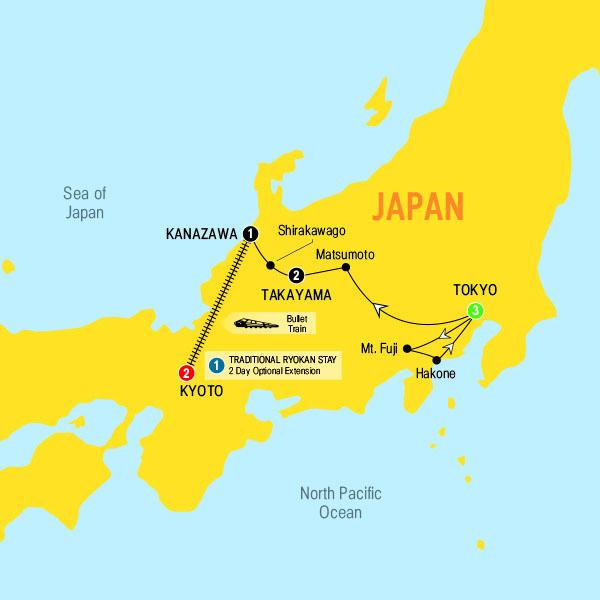 Trafalgar Tours Splendors Of Japan - Japan map kanazawa