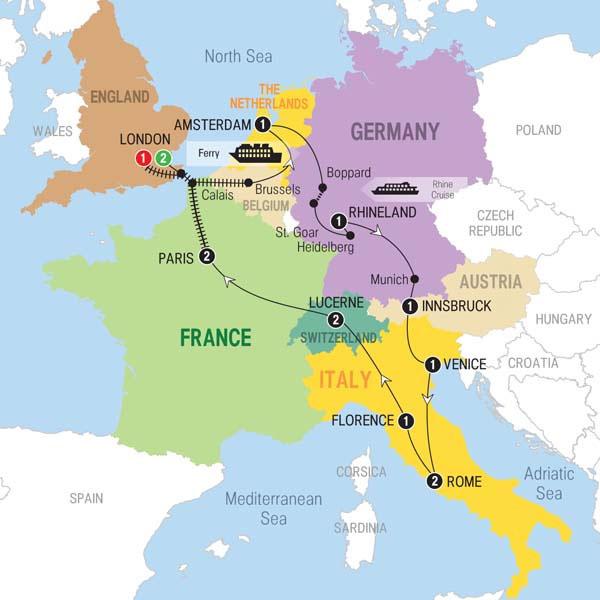 Trafalgar Tours European Whirl With Eurostar Winter - Amsterdam map in europe