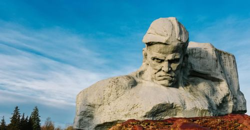 "View the giant ""Courage"" Monument installed within the walls of the Brest Fortress"