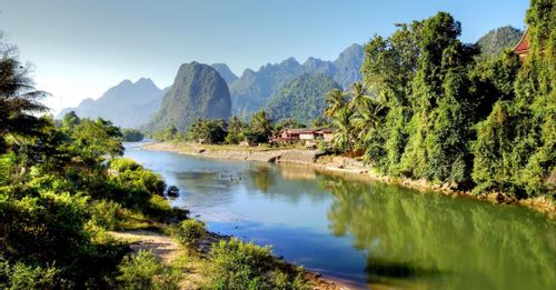 Go rock climbing at the Vang Vieng Limestone Karsts