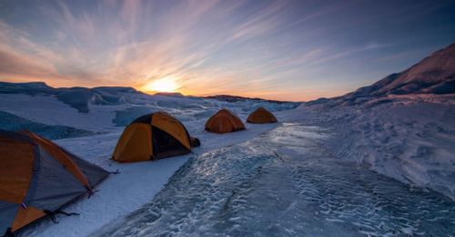 Ice camp through the night