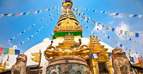 Dine at a rooftop restaurant with views of the Boudhanath