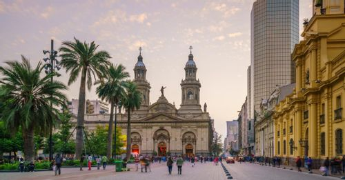 Admire the iconic Cathedral in the Santiago's Plaza de Armas