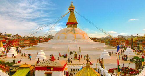 Enjoy panoramic views of Kathmandu from the Swayambhunath Shrine