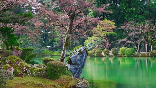 Spend a relaxing evening walking through the serene Kenroku-en garden