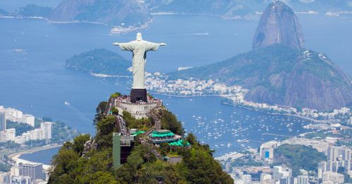 Enjoy a panoramic view of Rio de Janeiro from the famous Christ the Redeemer statue