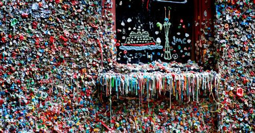 Take a photo at the Gum Wall