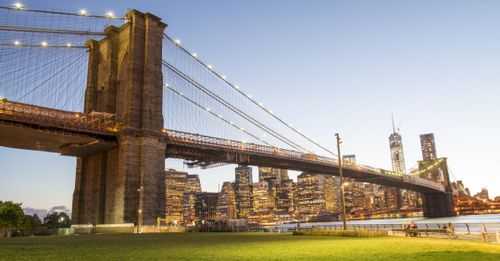 See the city from the Brooklyn Bridge Park